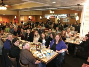CCCOER gathered together in a restaurant to share breakfast during OpenEd17