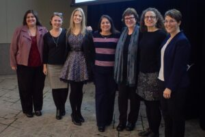 Image of several presenters at the summit, including: Jennifer McIntosh, Page Wolf, Nicole Finkbeiner, Lisa Young, Una Daly, Amy Hofer, and Denise Coté