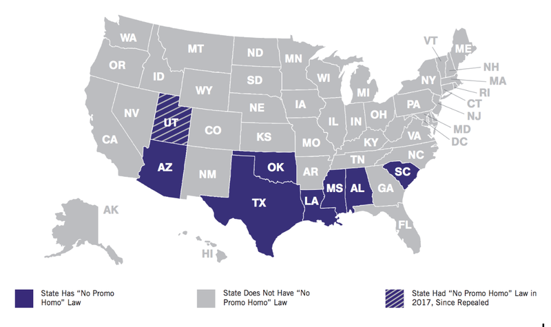 "US map showing states with ""No promo homo"" legislation"