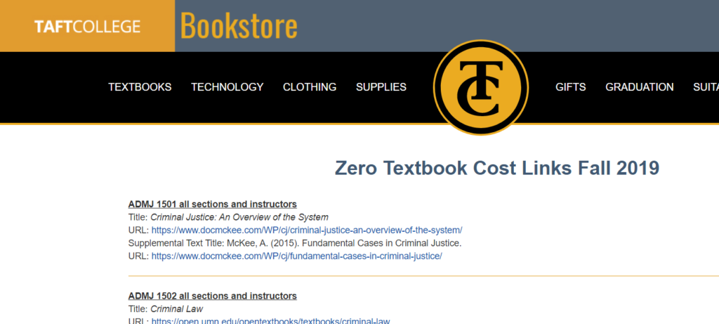 Taft College Bookstore Website